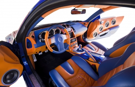 abstract wide view of tuned car interior  Stock Photo