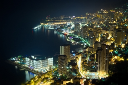 aerial view of Monaco, Monte Carlo by night  photo