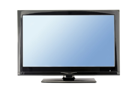 screen tv: blue lcd tv monitor isolated on white background  Stock Photo