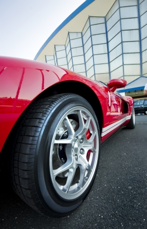 closeup of a red Sport Car Wheel