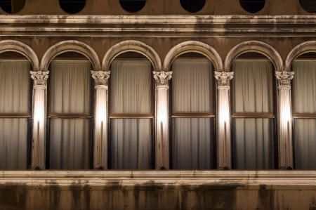 architectural details of Venice curtains, Italy photo