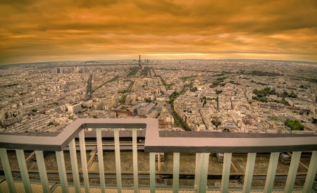 paris golden sunset panoramic cityscape with retro style vibrant colors  photo