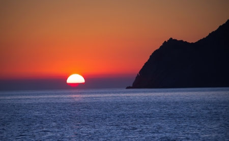 vernazza: sunset landscape at Alps Maritimes, Cinque Terre, Italy Stock Photo