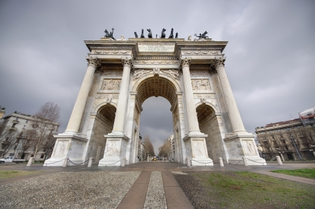 wide view of the Arch of Peace, Milano, Italy  photo