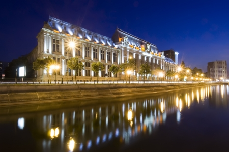 night scene of Justice Palace, Bucharest, Romania