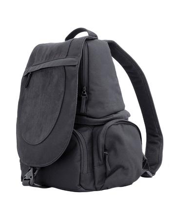 black sling bag isolated on white photo