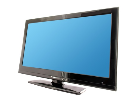 lcd tv: blue lcd tv monitor isolated on white background  Stock Photo