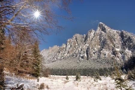 winter mountain scene in Romanian Carpathians  photo