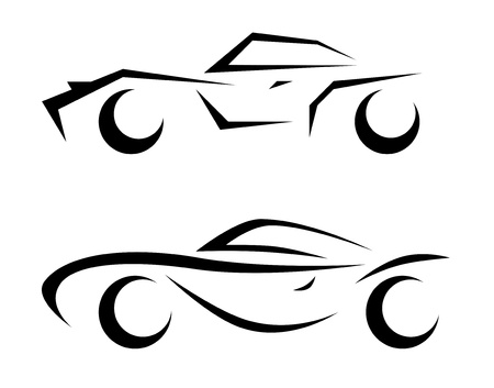 race car symbol: car sketch abstract illustration
