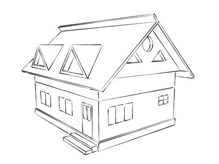 english village: simple sketch illustration of a house