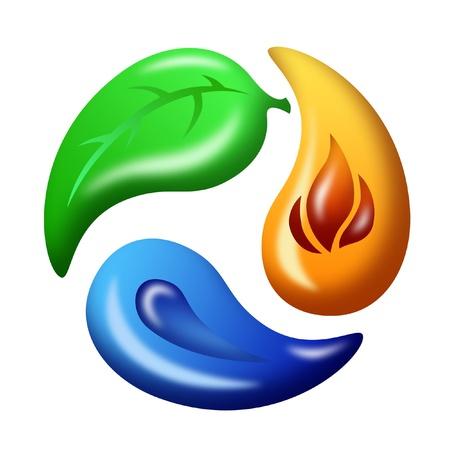 ciclo del agua: conjunto de reciclar hoja, fuego y agua símbolo Foto de archivo