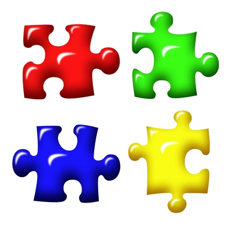 separate: set of jigsaw puzzle pieces  Stock Photo