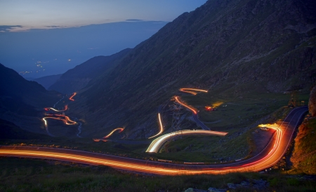 rocky road: famous mountain road in night, Romanian Carpathians, Transfagarasan