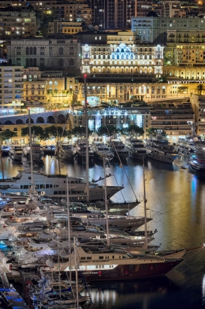 Monte Carlo port, Monaco  night scene photo