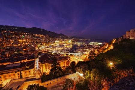 Monte Carlo port, Monaco  night scene, wide view photo