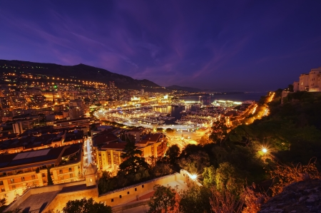 Monte Carlo port, Monaco  night scene, wide view photo