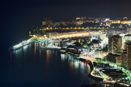 monaco: Monaco, Monte Carlo port by night, aerial view