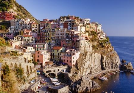 italian village: buildings of Manarola in autumn, Cinque Terre, Italy  Stock Photo