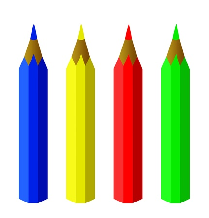 pencils in color isolated on white  render illustration Stock Photo