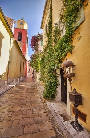 narrow street in Saint Tropez, France  photo