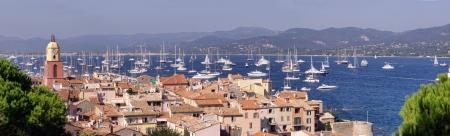 cote: panorama of Saint-Tropez cityscape, French Riviera Stock Photo