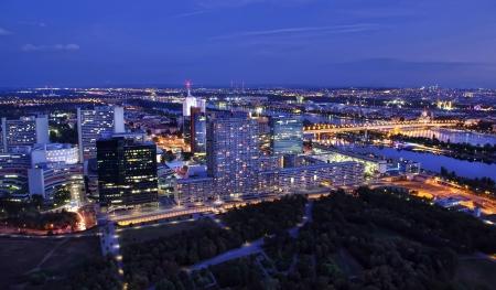 the danube: modern Vienna cityscape night scene, Austria