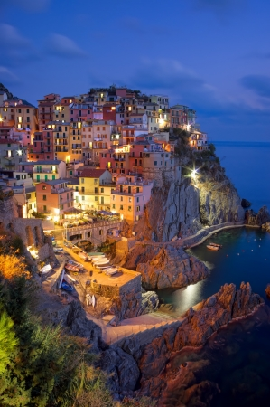 Manarola village at night, Cinque Terre, Italy Banco de Imagens
