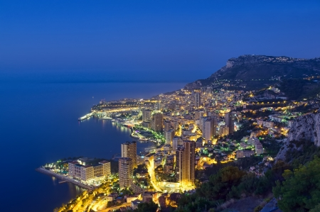 Monaco, Monte Carlo coast by night  photo