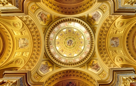 Dome of the Saint Stephen Basilica in Budapest, Hungary
