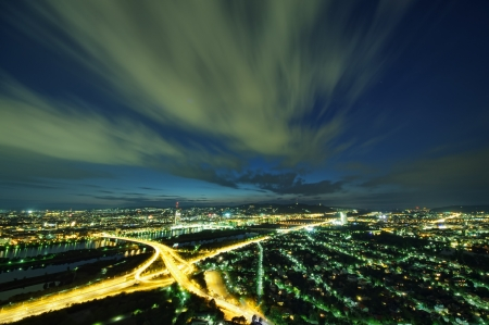 Vienna skyline at night, Austria Standard-Bild