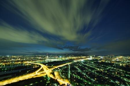 wiedeń: Wiedeń skyline w nocy, Austria