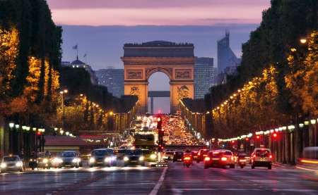 high street: Paris, Champs-Elysees at night