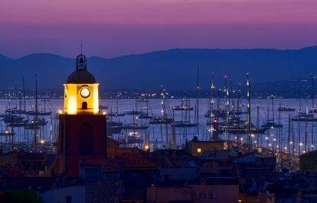 Saint Tropez beach resort, France night scene Banco de Imagens