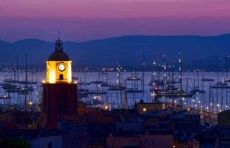 Saint Tropez beach resort, France night scene Standard-Bild