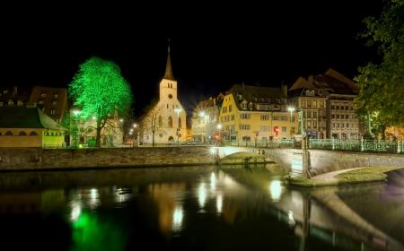 bell tower: night scene of Strasbourg city, France