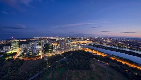 vienna: aerial view of Vienna cityscape, Austria. night scene