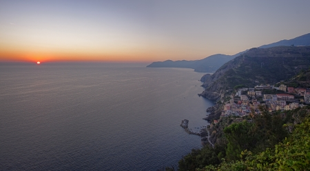 Cinque Terre coast at sunset, Mediterranean sea, Italy photo