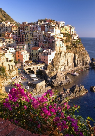Manarola at sunset, Cinque Terre, Italy Stock Photo