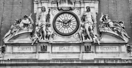 motto: Liberty, Equality, and Fraternity on France Paris city hall, the motto of the French Revolution