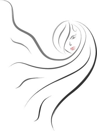 dibujos lineales: peluquería logo icono de estilo de pincel de dibujo Vectores