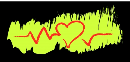 tachycardia: illustration of a heart and pulse in brush drawing style