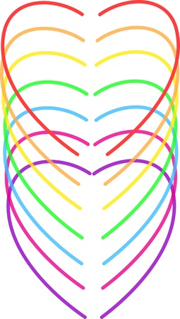 rainbow hearts vector illustration  Vector