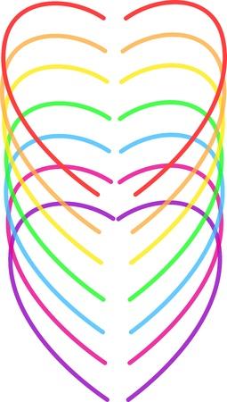 rainbow hearts vector illustration Stock Vector - 15908972