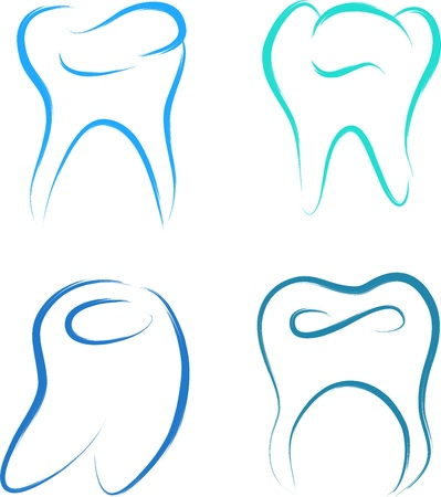 dental caries: teeth set healthy vector illustration sketch
