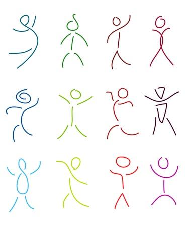sentimientos y emociones: conjunto de personas estilizadas en estilo de dibujo boceto cepillo Vectores
