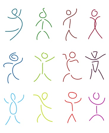 feelings and emotions: set of stylized people in sketch brush drawing style