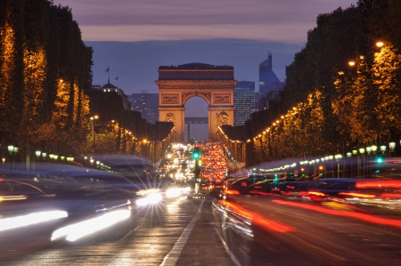 avenue: Paris, Champs-Elysees traffic at night  Stock Photo
