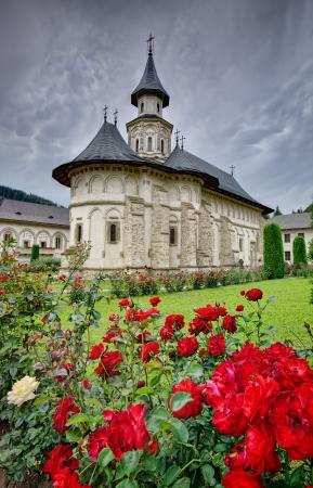 monastery nature: famous Putna monastery, UNESCO world heritage  Romania