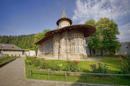 Voronet monastery of northern Romania, Moldavia  UNESCO heritage Stock Photo