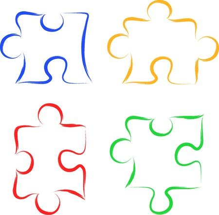 puzzle piece: Piezas del rompecabezas del garabato